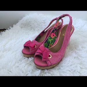 Sperry cork Wedges 7.5 pink heel strap